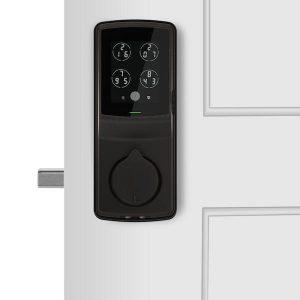 รูป deadbolt ติดประตูสีน้ำตาล lockly digital doorlock